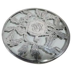 Antique American Art Nouveau Silver Overlay Acorn Trivet