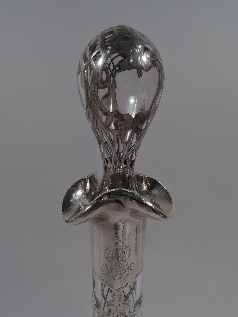 Antique American Art Nouveau Silver Overlay Bottle Decanter In Good Condition In New York, NY