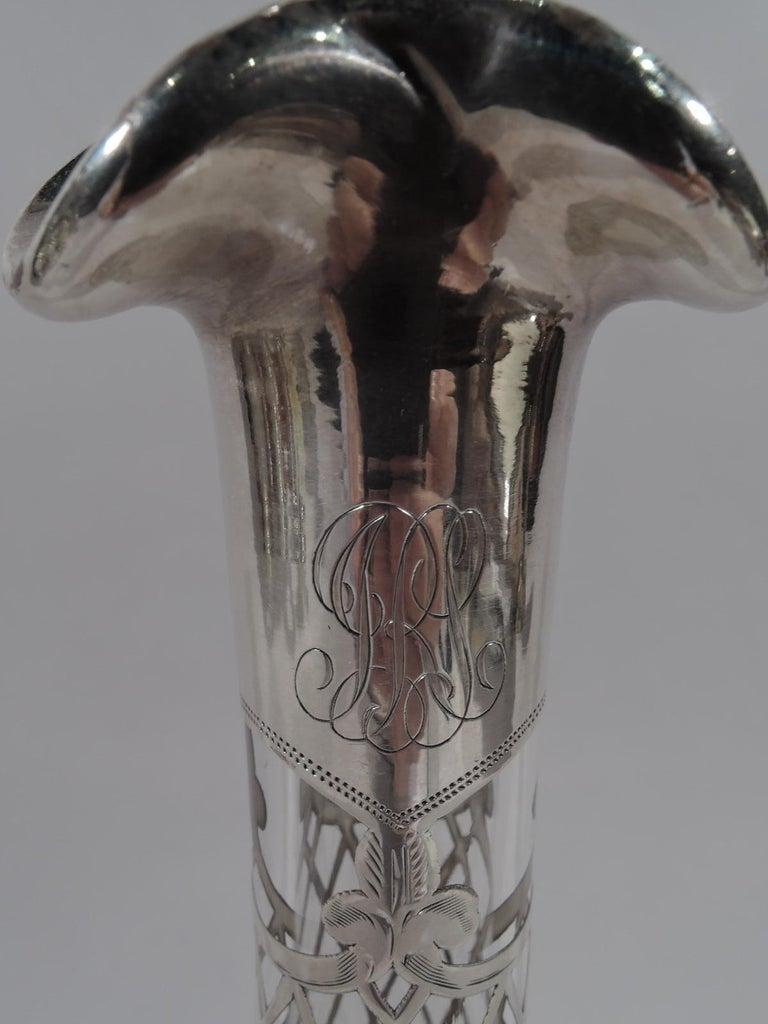 Antique American Art Nouveau Silver Overlay Bottle Decanter 1