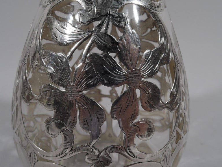 Antique American Art Nouveau Silver Overlay Bottle Decanter 2