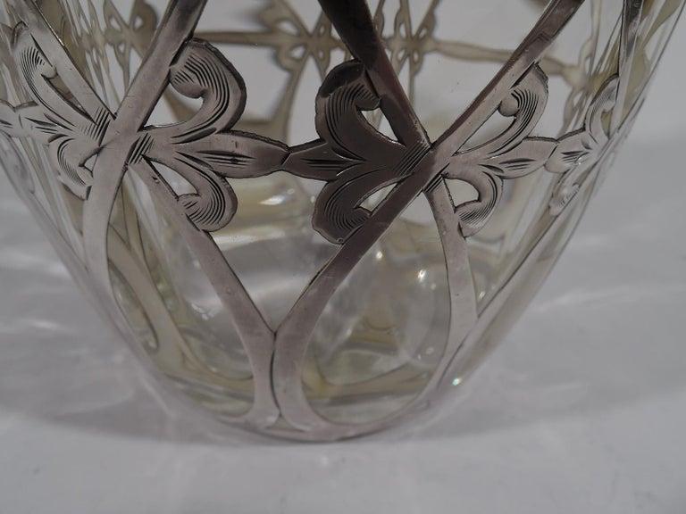 Antique American Art Nouveau Silver Overlay Bottle Decanter 3