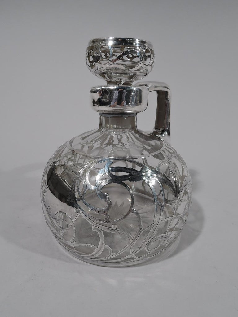 Antique American Art Nouveau Silver Overlay Jug Decanter In Excellent Condition For Sale In New York, NY