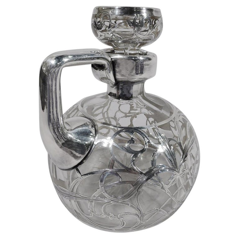 Antique American Art Nouveau Silver Overlay Jug Decanter For Sale