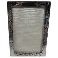 Antique American Art Nouveau Sterling Silver Boudoir Picture Frame