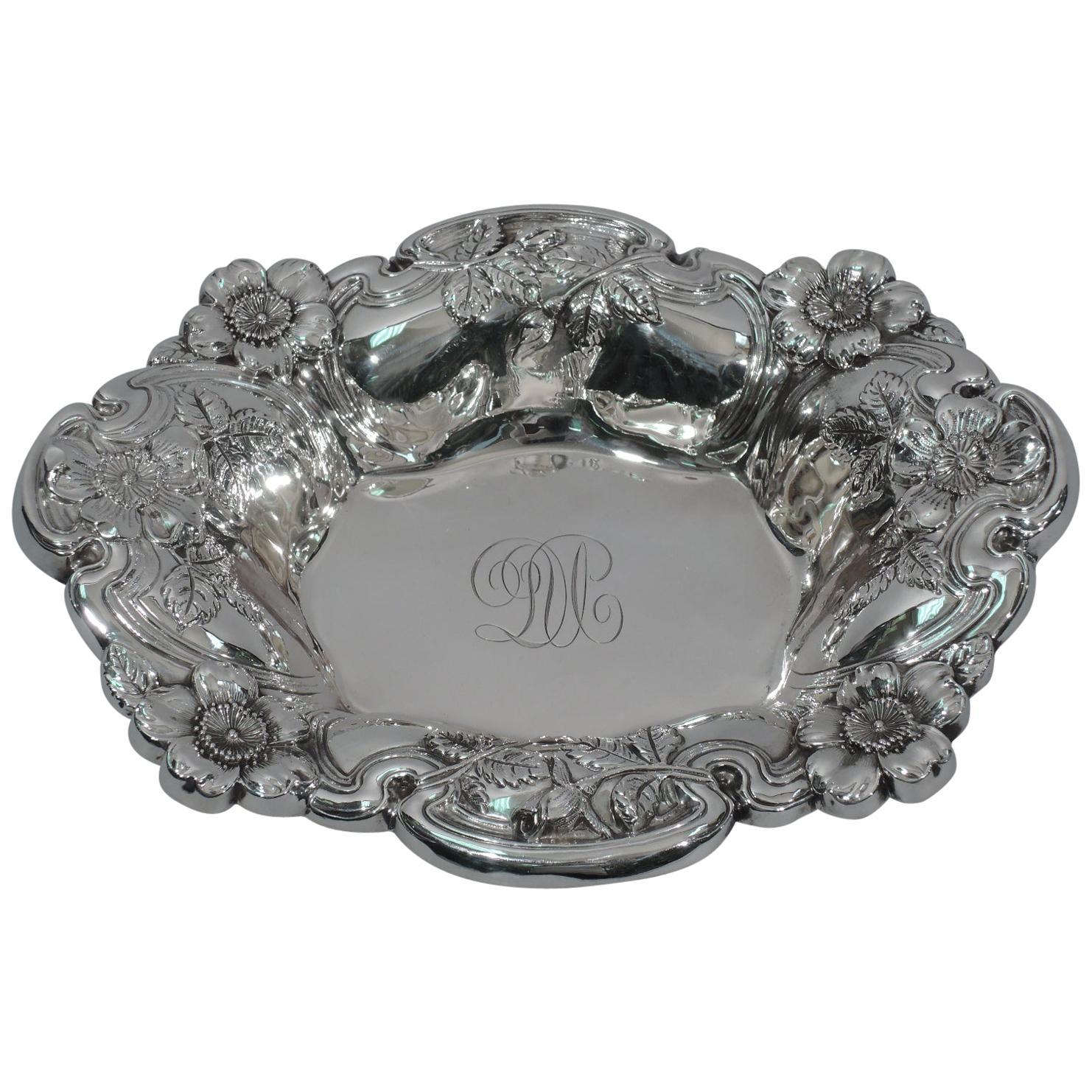 Antique American Art Nouveau Sterling Silver Flower Bowl