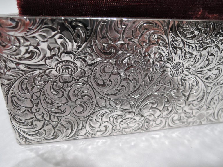 20th Century Antique American Art Nouveau Sterling Silver Jewelry Box For Sale