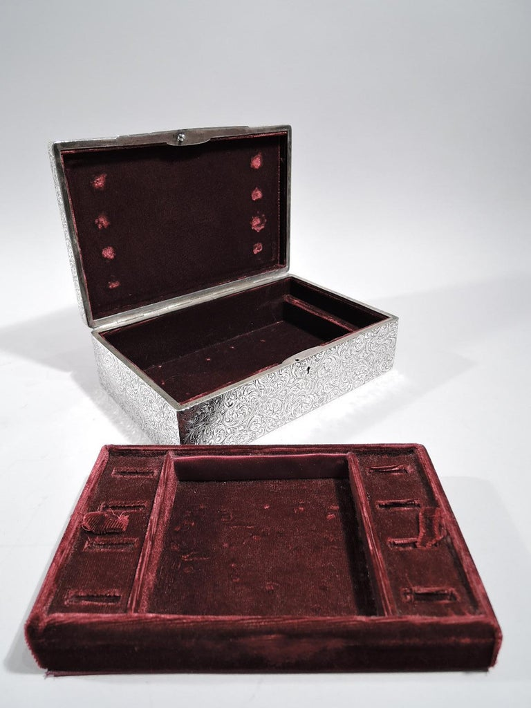 Antique American Art Nouveau Sterling Silver Jewelry Box For Sale 2