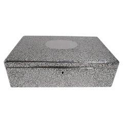 Antique American Art Nouveau Sterling Silver Jewelry Box