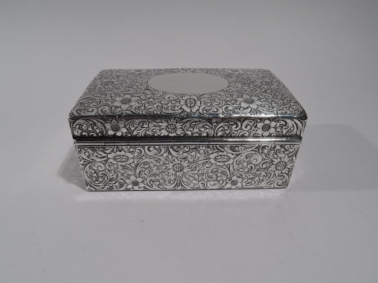 20th Century Antique American Art Nouveau Sterling Silver Jewelry Casket Box
