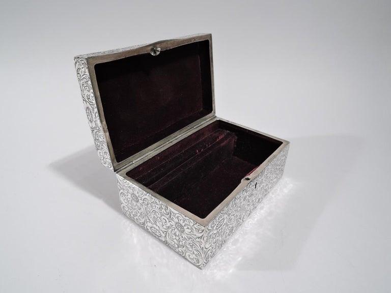 Antique American Art Nouveau Sterling Silver Jewelry Casket Box 1