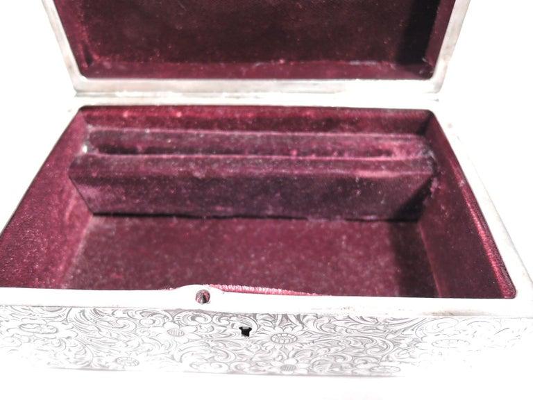 Antique American Art Nouveau Sterling Silver Jewelry Casket Box 2