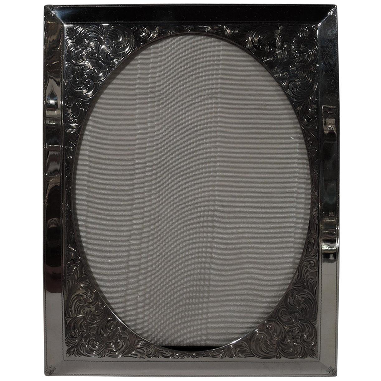 Antique American Art Nouveau Sterling Silver Picture Frame