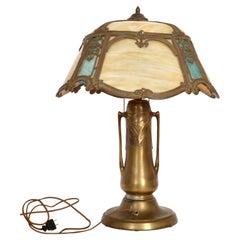 Antique American Art Nouveau Table Lamp Bronze & Slag Glass, 1910