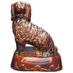 Antique American Bennington Vermont Treacle Glaze Dog
