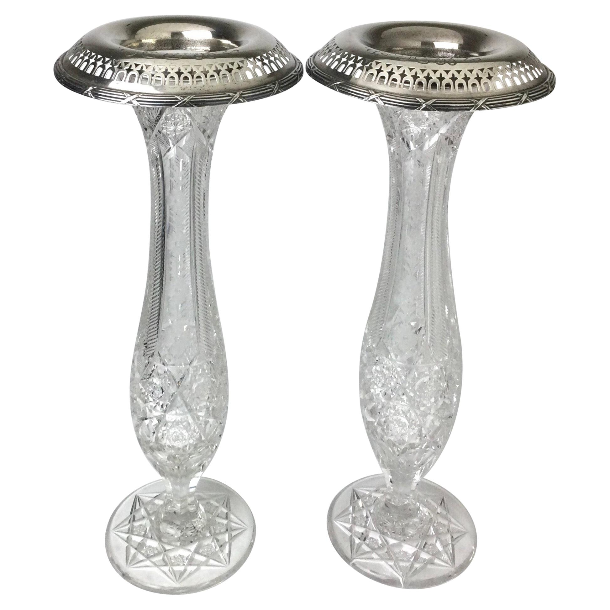 Antique American Brilliant Cut Glass and Gorham Sterling Silver Vases Pair