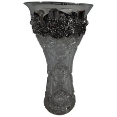 Antique American Brilliant-Cut Glass and Sterling Silver Vase