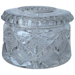 Antique American Brilliant Cut Glass Receiver or Vanity Jar