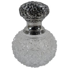 Antique American Brilliant-Cut Glass and Sterling Silver Perfume