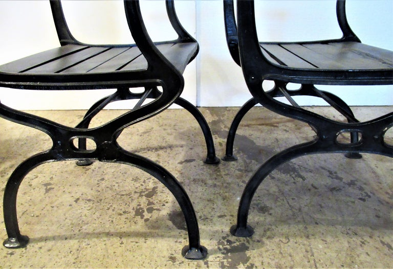 Antique American Cast Iron Sea Horse and Scallop Shell Design Garden Chairs For Sale 5