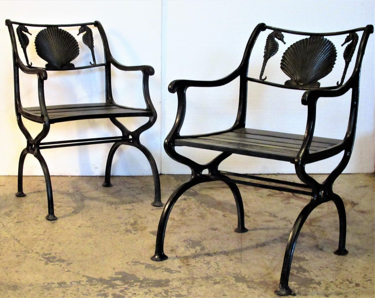 Antique American Cast Iron Sea Horse and Scallop Shell Design Garden Chairs For Sale 8