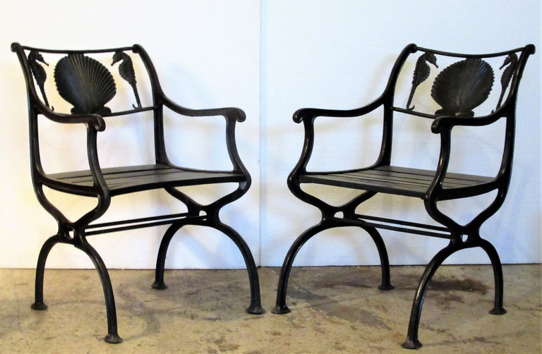 Art Deco Antique American Cast Iron Sea Horse and Scallop Shell Design Garden Chairs For Sale
