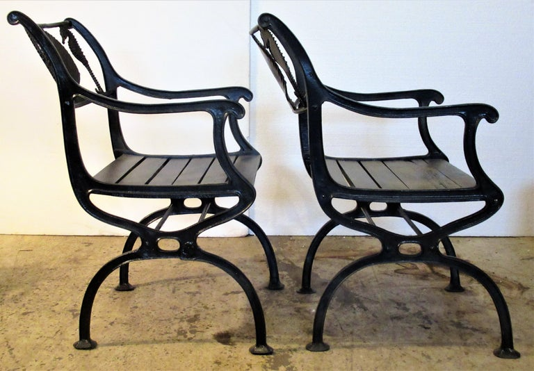 Antique American Cast Iron Sea Horse and Scallop Shell Design Garden Chairs In Good Condition For Sale In Rochester, NY