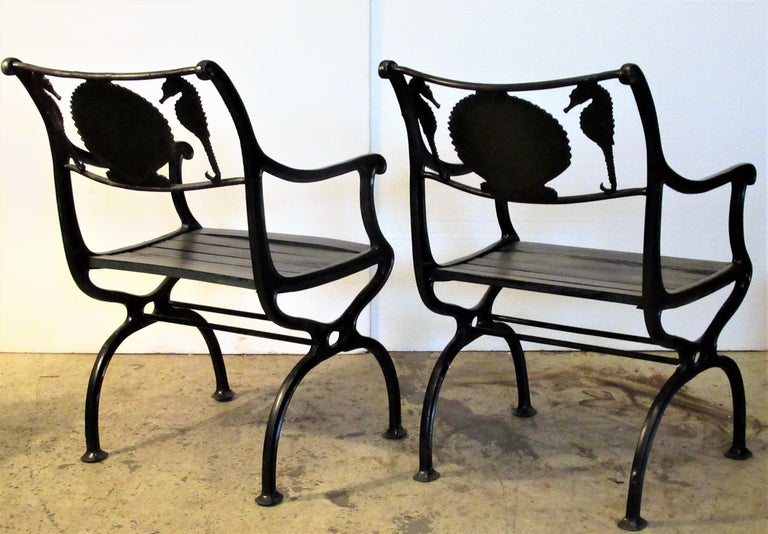 20th Century Antique American Cast Iron Sea Horse and Scallop Shell Design Garden Chairs For Sale