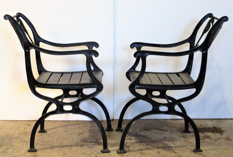 Antique American Cast Iron Sea Horse and Scallop Shell Design Garden Chairs For Sale 2