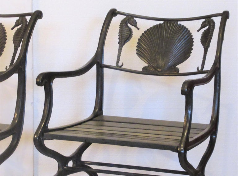 Antique American Cast Iron Sea Horse and Scallop Shell Design Garden Chairs For Sale 3