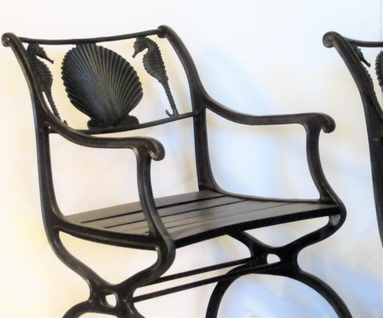 Antique American Cast Iron Sea Horse and Scallop Shell Design Garden Chairs For Sale 4