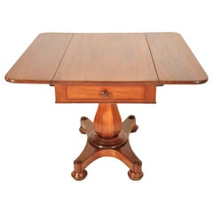 Antique American Classical Mahogany Drop Leaf Pedestal Pembroke Table circa 1840