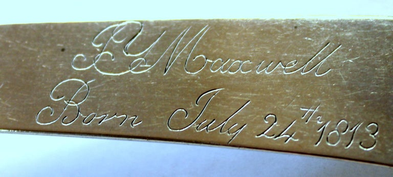 Antique American Coin Silver Presentation Birth Spoon, Fiddle Pattern For Sale 1