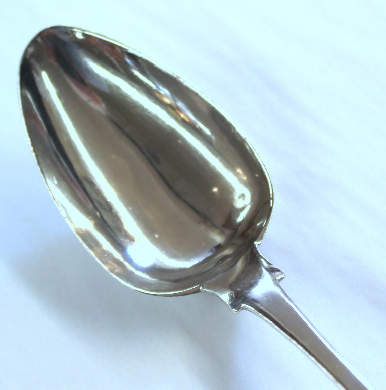 Antique American Coin Silver Presentation Birth Spoon, Fiddle Pattern For Sale 2