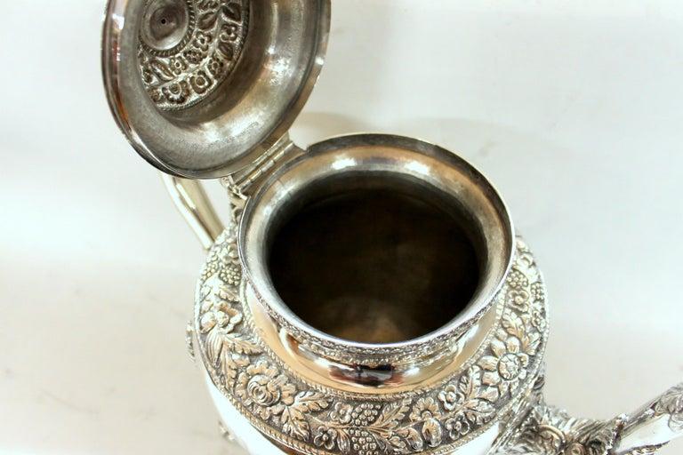 Antique American Coin Silver Rococo Style Four Piece Tea Set, Andrew de Milt, NY For Sale 6