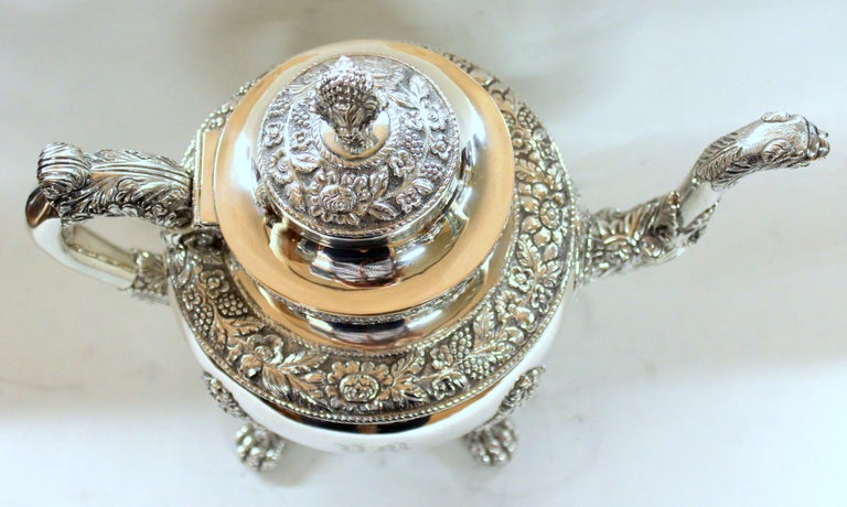 Antique American Coin Silver Rococo Style Four Piece Tea Set, Andrew de Milt, NY For Sale 7