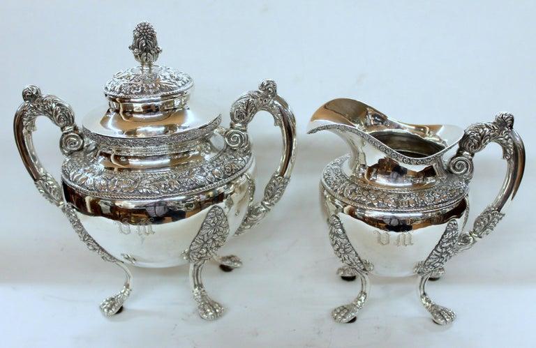 Antique American Coin Silver Rococo Style Four Piece Tea Set, Andrew de Milt, NY For Sale 8
