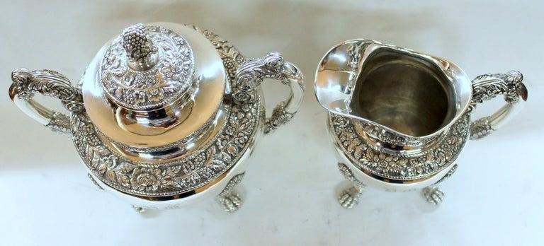 Antique American Coin Silver Rococo Style Four Piece Tea Set, Andrew de Milt, NY For Sale 9