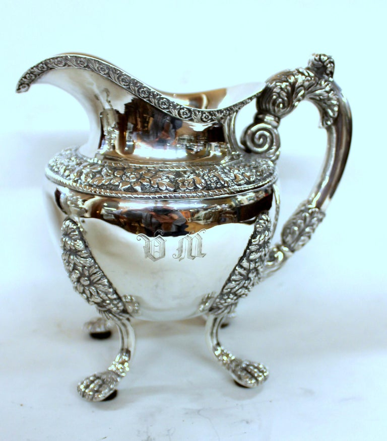 Antique American Coin Silver Rococo Style Four Piece Tea Set, Andrew de Milt, NY For Sale 10