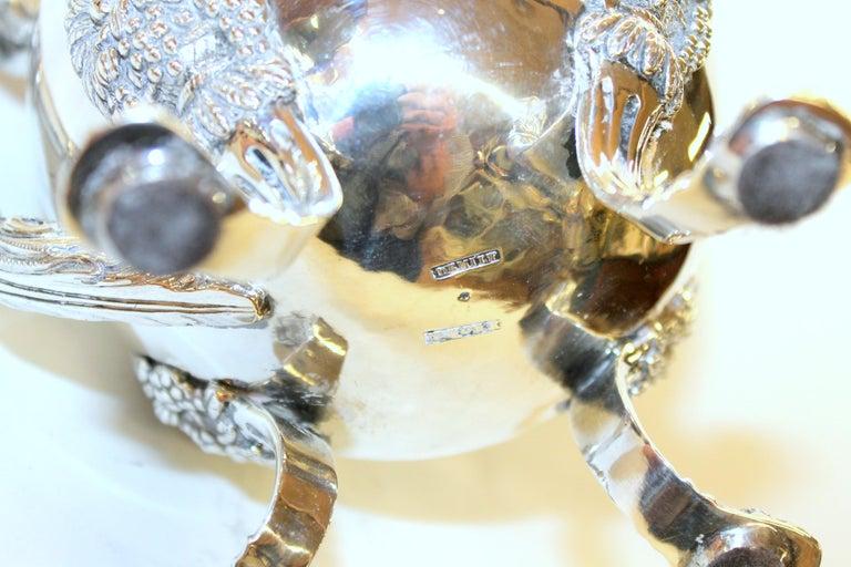 Antique American Coin Silver Rococo Style Four Piece Tea Set, Andrew de Milt, NY For Sale 11