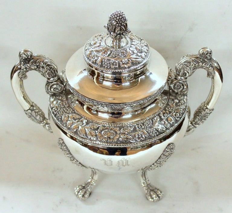 Antique American Coin Silver Rococo Style Four Piece Tea Set, Andrew de Milt, NY For Sale 12