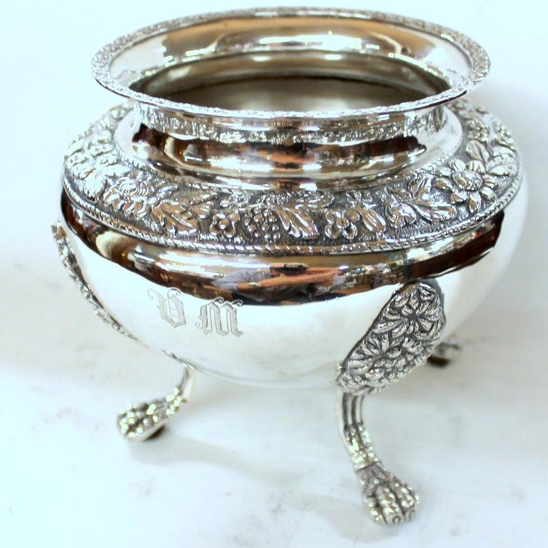 Antique American Coin Silver Rococo Style Four Piece Tea Set, Andrew de Milt, NY For Sale 14