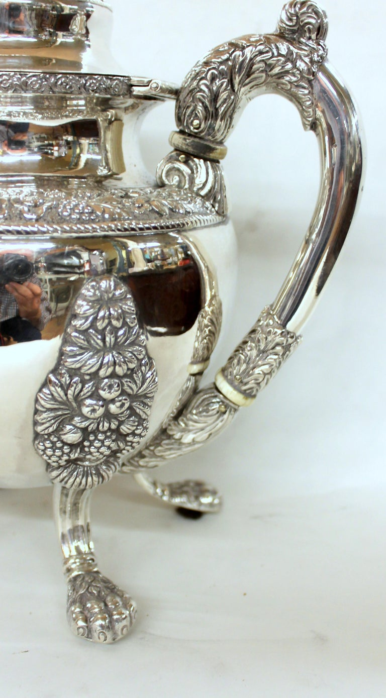 Hand-Crafted Antique American Coin Silver Rococo Style Four Piece Tea Set, Andrew de Milt, NY For Sale