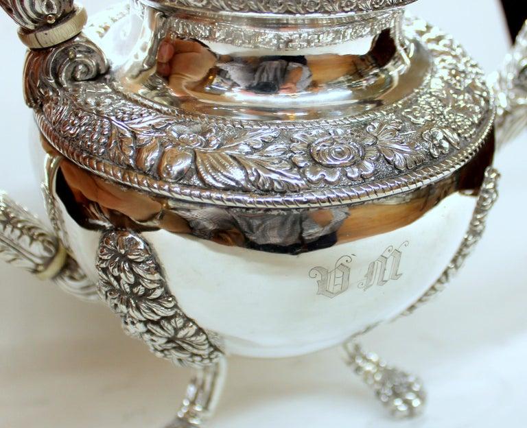Antique American Coin Silver Rococo Style Four Piece Tea Set, Andrew de Milt, NY For Sale 2