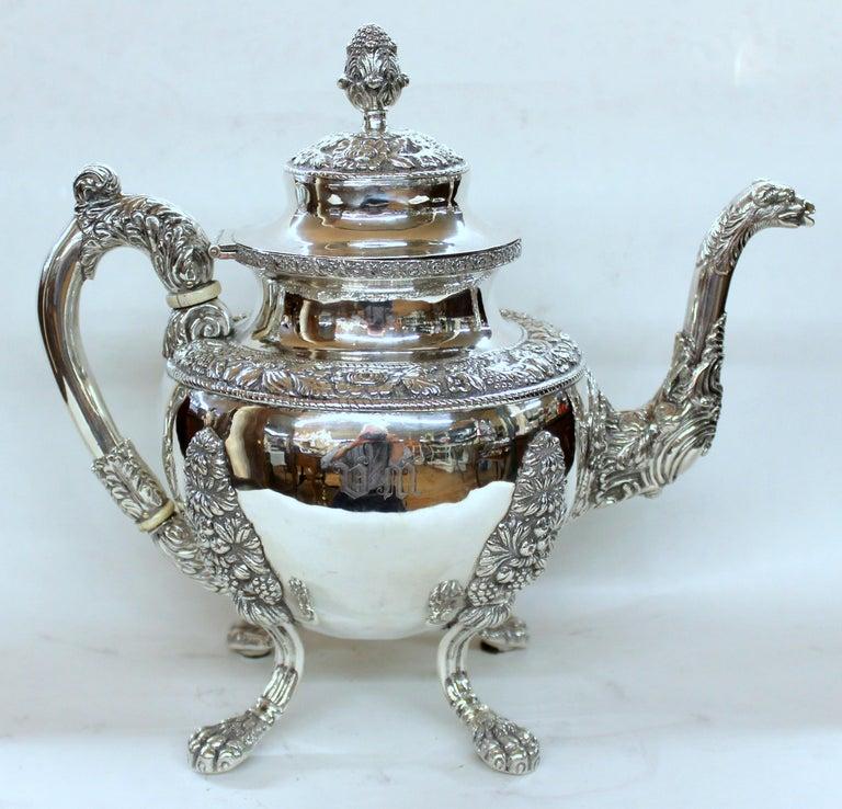 Antique American Coin Silver Rococo Style Four Piece Tea Set, Andrew de Milt, NY For Sale 3