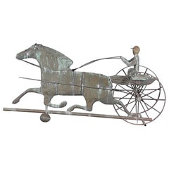 Antique American Copper Weathervane Modeled after a Horse and Trap with Driver