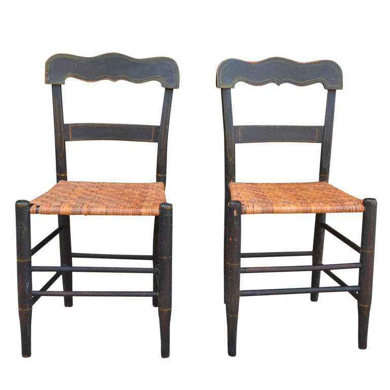 Antique American Country Sheraton Cane Seat Chairs Pair For Sale - Antique American Country Sheraton Cane Seat Chairs Pair For Sale At