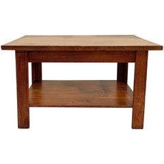 Antique American Craftsman Library or Work Table, Solid Oak