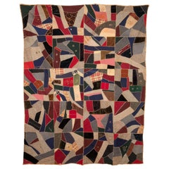 Antique American Crazy Quilt, Dated, 1909-1910