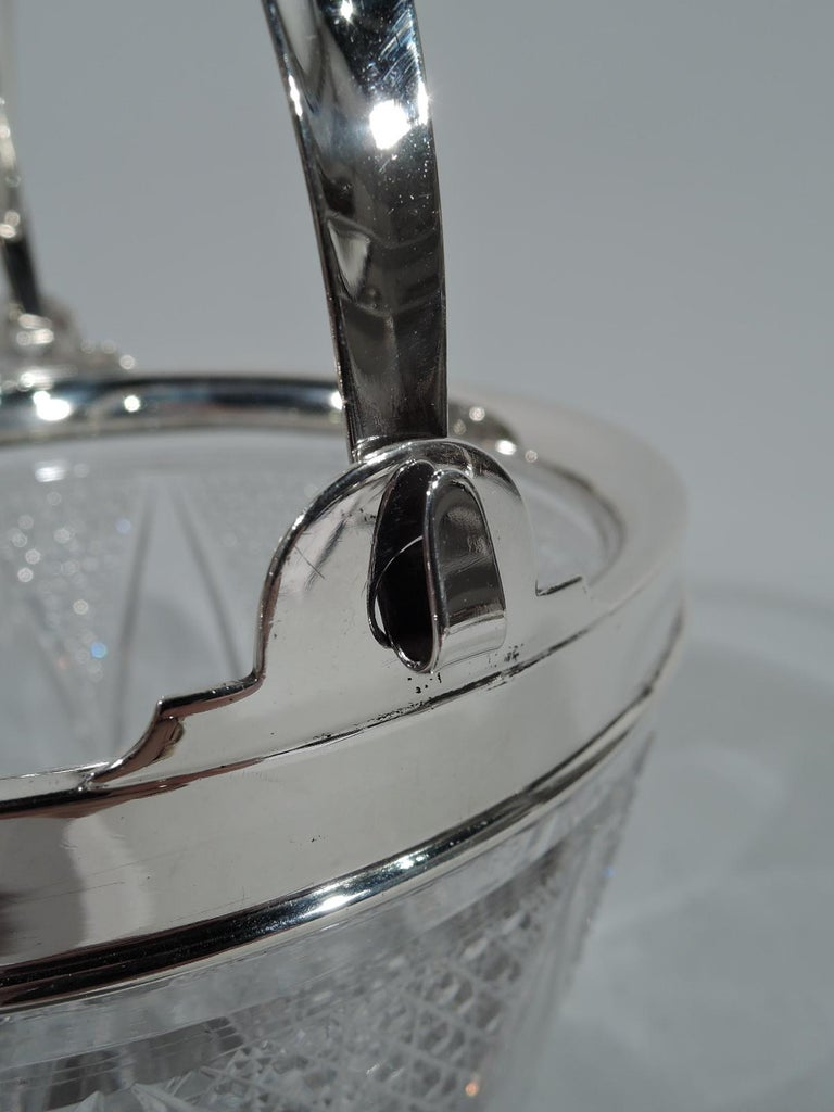 Edwardian Antique American Cut Glass and Sterling Silver Ice Bucket For Sale