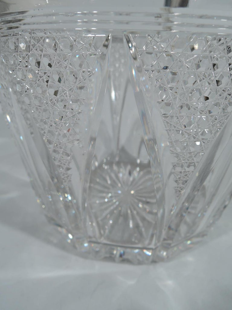 Antique American Cut Glass and Sterling Silver Ice Bucket In Excellent Condition For Sale In New York, NY